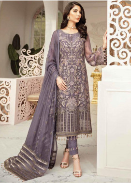 Flossie Embroidered Chiffon Unstitched 3 Piece Suit FL20LC 10 - Luxury Collection