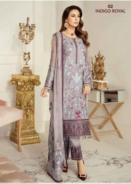Flossie Embroidered Chiffon Unstitched 3 Piece Suit FL20LC 2 - Luxury Collection