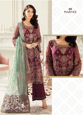 Flossie Embroidered Chiffon Unstitched 3 Piece Suit FL20LC 4 - Luxury Collection