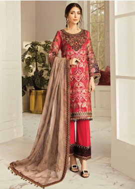 Flossie Embroidered Chiffon Unstitched 3 Piece Suit FL20LC 9 - Luxury Collection
