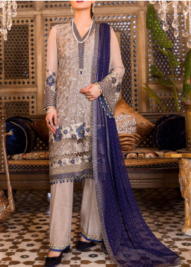 Flossie Embroidered Chiffon Unstitched 3 Piece Suit FL20KC KE-05 ROYAL CHARM - Luxury Collection