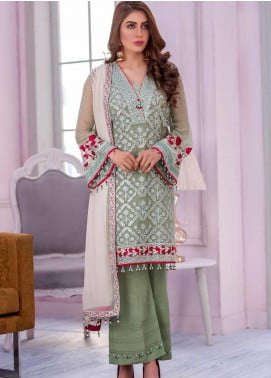 Flossie Embroidered Chiffon Unstitched 3 Piece Suit FL20KC K-501 - Luxury Collection