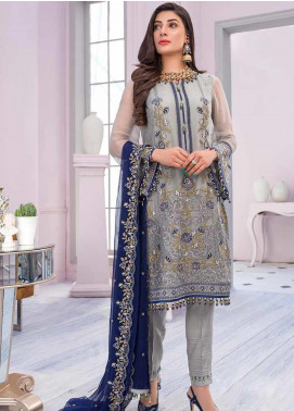 Flossie Embroidered Chiffon Unstitched 3 Piece Suit FL20KC K-5010 - Luxury Collection