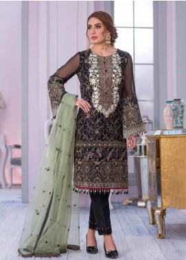 Flossie Embroidered Chiffon Unstitched 3 Piece Suit FL20KC K-504 - Luxury Collection