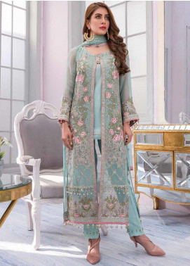 Flossie Embroidered Chiffon Unstitched 3 Piece Suit FL20KC K-505 - Luxury Collection