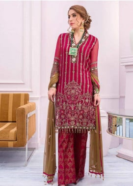 Flossie Embroidered Chiffon Unstitched 3 Piece Suit FL20KC K-506 - Luxury Collection