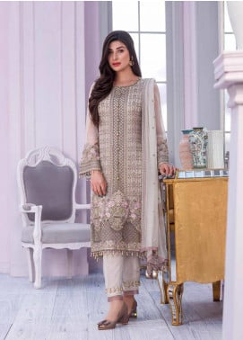 Flossie Embroidered Chiffon Unstitched 3 Piece Suit FL20KC K-507 - Luxury Collection