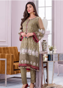 Flossie Embroidered Chiffon Unstitched 3 Piece Suit FL20KC K-508 - Luxury Collection