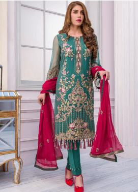 Flossie Embroidered Chiffon Unstitched 3 Piece Suit FL20KC K-509 - Luxury Collection