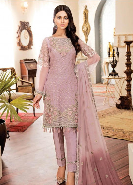 Kuch Khas By Flossie Embroidered Chiffon Unstitched 3 Piece Suit FKK19-C4 02 SNOW DROP - Luxury Collection