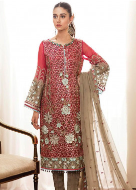Kuch Khas By Flossie Embroidered Chiffon Unstitched 3 Piece Suit FKK19-C4 07 REBILLIOUS ROSE - Luxury Collection