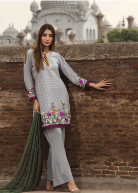 Floral Vintage Embroidered Swiss Voile Unstitched 3 Piece Suit FLV18S 2A - Festive Collection
