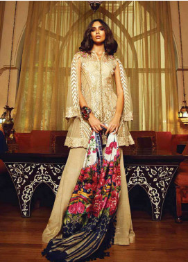 Faraz Manan Embroidered Zari Net Unstitched 3 Piece Suit FM18F 08 - Luxury Collection