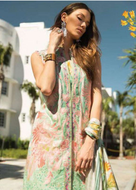 Faraz Manan Embroidered Lawn Unstitched 3 Piece Suit FM18L 02 - Spring / Summer Collection