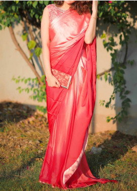 Sidra Mumtaz Embroidered Silk Stitched Saree 01 Ombre Peach