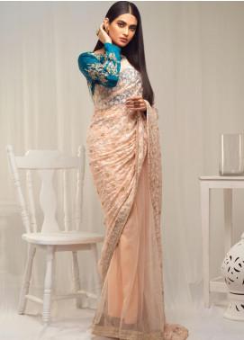 Sidra Mumtaz Embroidered Net Stitched Saree 03 Tabir