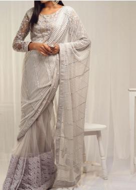 Sidra Mumtaz Embroidered Net Stitched Saree 02 Maahtab