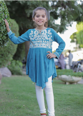 Ochre Crepe Embroidered Kurties for Girls -  OFK 657 Teal Blue