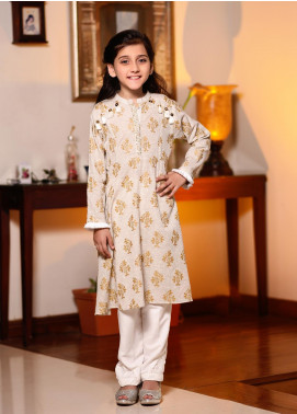 Ochre Chambray Screen Printed 2 Piece Suit for Girls - OFK 671 Grey