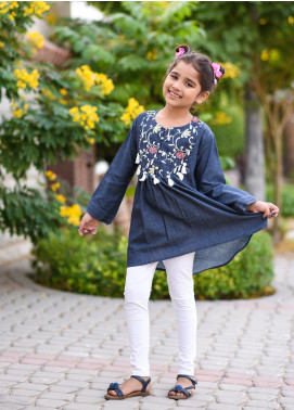 Ochre Chambray Screen Printed Girls 2 Piece Suit -  OFK 672 Navy