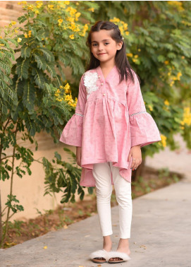 Ochre Chambray Embroidered Formal Kurtis for Girls -  OFK 675 Pink