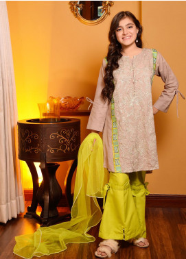 Ochre Cotton Embroidered 3 Piece Suit for Girls -  OFK 679 Beige