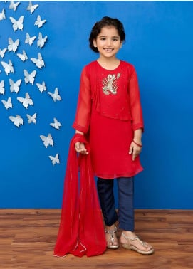 Ochre Chiffon Formal Girls 3 Piece Suit -  OFW 204 Red