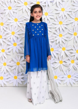 Ochre Chiffon Embroidered Formal 3 Piece Suit for Girls - OFW 225 Teal Blue