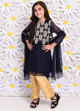 Ochre Chiffon Embroidered Formal 3 Piece Suit for Girls - OFW 232 Navy
