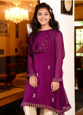 Ochre Chiffon Embroidered Formal 3 Piece Suit for Girls -  OFW 235 Purple