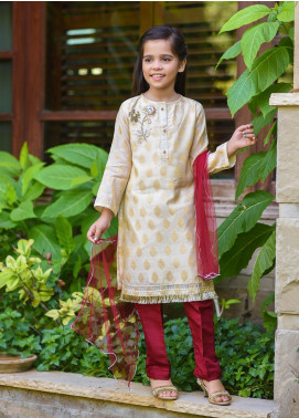 Ochre Cotton Embroidered 3 Piece Suit for Girls -  OFW 236 Beige