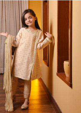 Ochre Cotton Embroidered Formal Girls 3 Piece Suit -  OFW 237 Beige