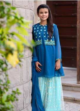 Ochre Chiffon Embroidered Formal 3 Piece Suit for Girls - OFW 241 Teal Blue