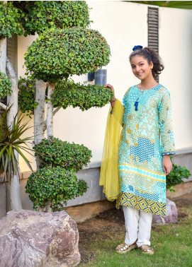 Ochre Cotton Embelished 3 Piece Suit for Girls -  OPL 45 Sky Blue