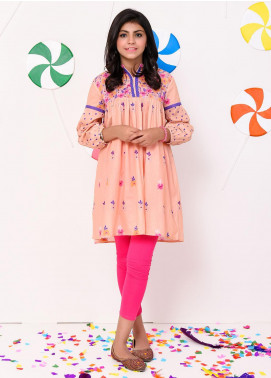 Ochre Lawn Embellished Formal Kurtis for Girls -  OPL 49 Peach