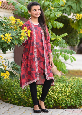 Ochre Khaddar Printed with Embellishments Kurtis for Girls -  OPL 55 Maroon