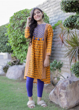Ochre Khaddar Printed Kurties for Girls -  OPL 56 Orange