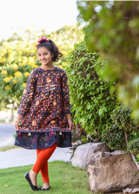 Ochre Khaddar Printed Kurties for Girls -  OPL 57 Navy
