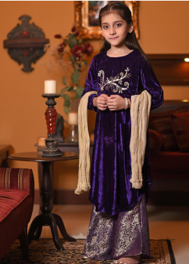 Ochre Velvet Embroidered Formal Girls 3 Piece Suit -  OVF 07 Purple