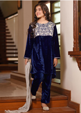 Ochre Velvet Embroidered Formal Girls 3 Piece Suit -  OVF 09 Navy