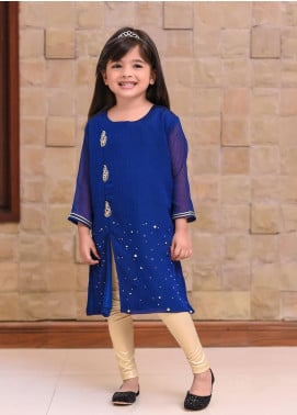 Ochre Chiffon Embroidered Formal Kurtis for Girls -  OFK 677 Royal Blue