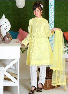 Ochre Cotton Formal 3 Piece Suit for Girls -  OFK 689 Yellow