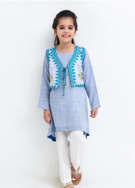 Ochre Cotton Embroidered Girls 2 Piece Suit - OFK 698 Blue