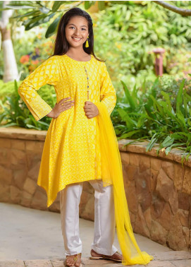 Ochre Cotton Formal 3 Piece Suit for Girls -  OFK 708 Mango Yellow