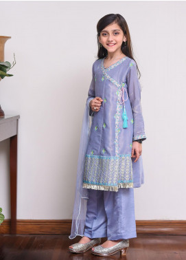 Ochre Missouri Embroidered Formal Girls 3 Piece Suit -  OFW 238 Grey