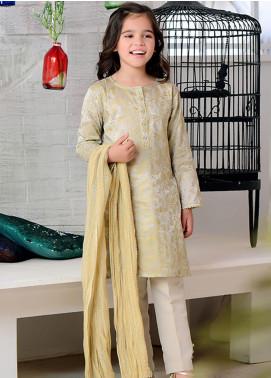 Ochre Cotton Silk Formal Girls 3 Piece Suit -  OFW 255 Light Grey