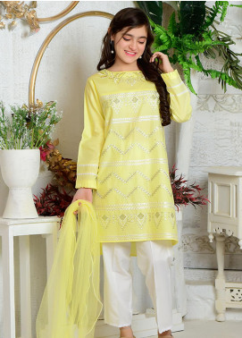 Ochre Cotton Formal 3 Piece Suit for Girls -  OFW 256 Light Yellow