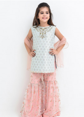 Ochre Cotton Embroidered 3 Piece Suit for Girls -  OFW 260 Tiffany Blue