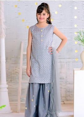Ochre Cotton Silk Formal 3 Piece Suit for Girls -  OFW 275 Grey