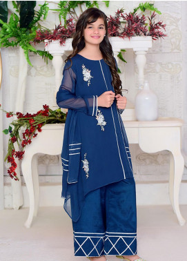 Ochre Chiffon Formal Girls 3 Piece Suit -  OFW 278 Dark Blue